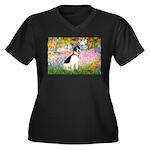 Garden / Rat Terrier Women's Plus Size V-Neck Dark