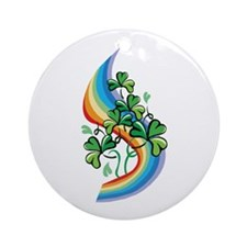 Rainbow and Shamrocks Ornament (Round)