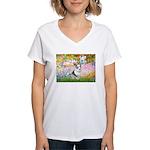 Garden / Corgi (bm) Women's V-Neck T-Shirt