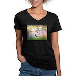 Garden / Corgi (bm) Women's V-Neck Dark T-Shirt