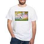 Garden / Corgi (bm) White T-Shirt