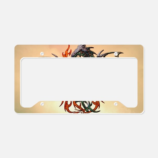 Wonderful dragon, tribal design License Plate Hold