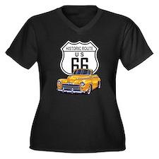 Classic Car Route 66 Women's Plus Size V-Neck Dark