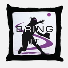 Softball Freak Pink Throw Pillow