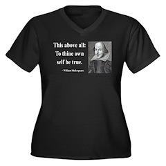 Shakespeare 5 Women's Plus Size V-Neck Dark T-Shir