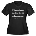 Shakespeare 9 Women's Plus Size V-Neck Dark T-Shir