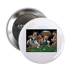 """Dogs Playing Pool 2.25"""" Button"""
