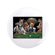 "Dogs Playing Pool 3.5"" Button"
