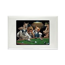 Dogs Playing Pool Rectangle Magnet