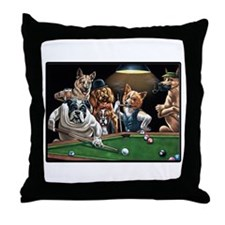 Dogs Playing Pool Throw Pillow