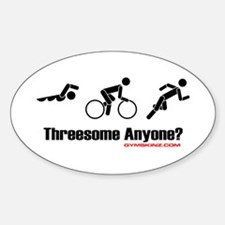 """""""Threesome Anyone?"""" Oval Decal"""