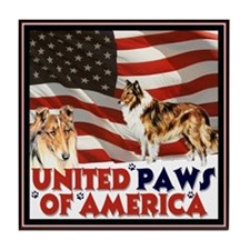 """""""United paws..."""" Collie Tile Coaster"""