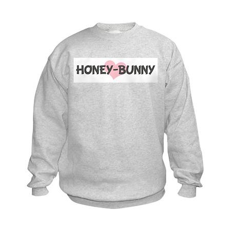 HONEY-BUNNY (pink heart) Kids Sweatshirt