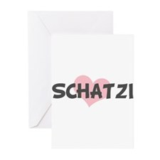SCHATZI (pink heart) Greeting Cards (Pk of 10)