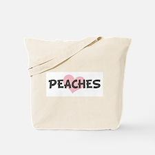 PEACHES (pink heart) Tote Bag