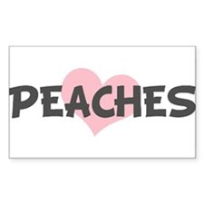 PEACHES (pink heart) Rectangle Decal