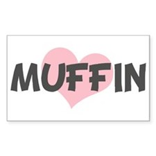 MUFFIN (pink heart) Rectangle Decal
