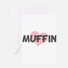 MUFFIN (pink heart) Greeting Cards (Pk of 10)