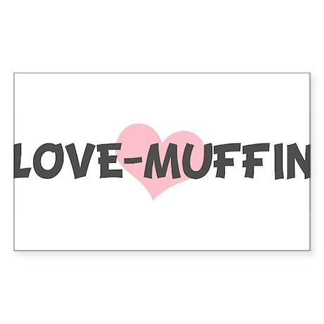 LOVE-MUFFIN (pink heart) Rectangle Sticker