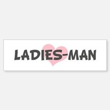 LADIES-MAN (pink heart) Bumper Car Car Sticker