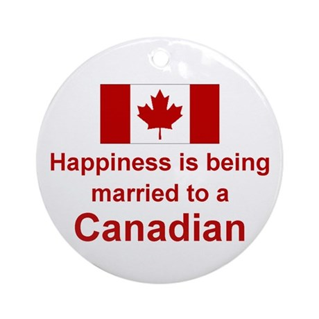 Happily Married To Canadian Ornament (Round)