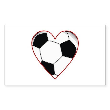 Valentine Soccer Heart Rectangle Sticker