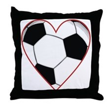 Valentine Soccer Heart Throw Pillow