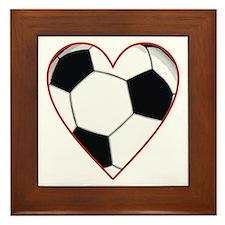 Valentine Soccer Heart Framed Tile