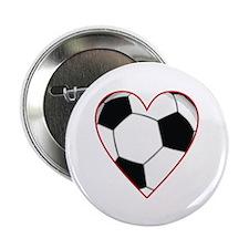 "Valentine Soccer Heart 2.25"" Button (10 pack)"