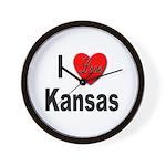 I Love Kansas Wall Clock
