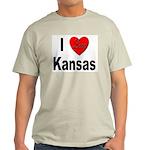 I Love Kansas (Front) Ash Grey T-Shirt