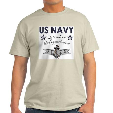 Navy Grandson defending Ash Grey T-Shirt
