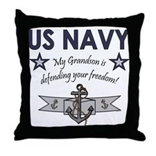 Navy Grandson defending Throw Pillow