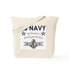 Navy Grandson defending Tote Bag