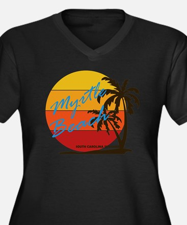 Cute Myrtle beach Women's Plus Size V-Neck Dark T-Shirt