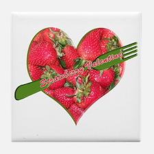 Helaine's Strawberry Valentin Tile Coaster