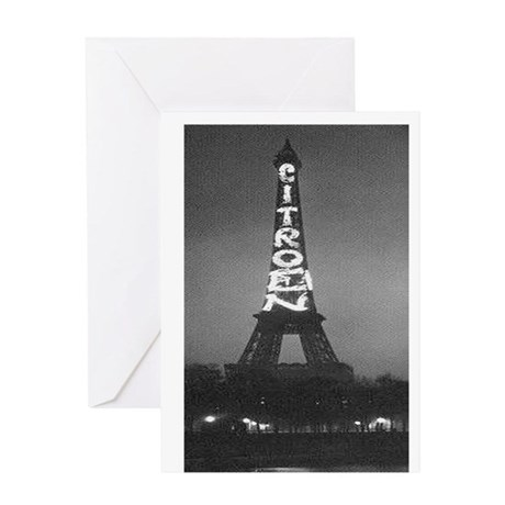 Vintage Citroen Eiffel Tower Greeting Card