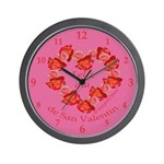 Spanish Rose Wreath on Pink Wall Clock
