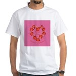 Spanish Rose Wreath on Pink White T-Shirt