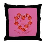 Spanish Rose Wreath on Pink Throw Pillow