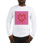 Spanish Rose Wreath on Pink Long Sleeve T-Shirt