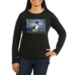 Lilies / Rat Terrier Women's Long Sleeve Dark T-Sh