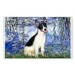 Lilies / Rat Terrier Sticker (Rectangle)