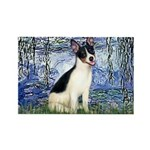 Lilies / Rat Terrier Rectangle Magnet (10 pack)