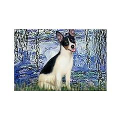 Lilies / Rat Terrier Rectangle Magnet (10 pack)
