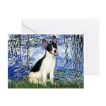 Lilies / Rat Terrier Greeting Card