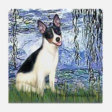 Lilies / Rat Terrier Tile Coaster