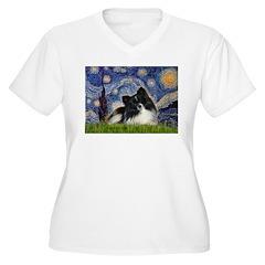 Starry Night / Pomeranian (b&w) T-Shirt