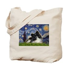 Starry Night / Pomeranian (b&w) Tote Bag