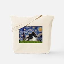 Starry Night / Pomeranian (b&w) Tote Bag